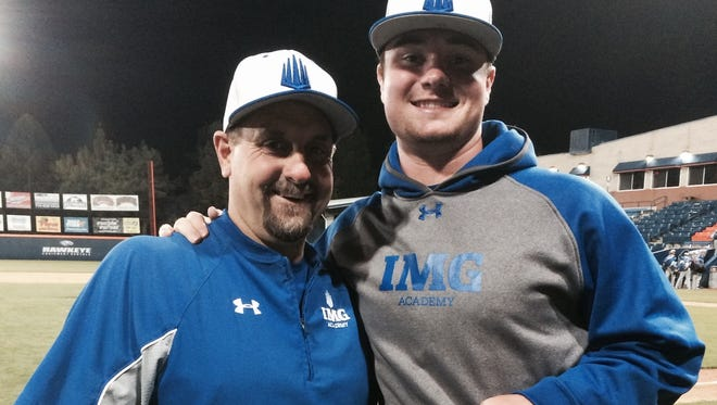 Logan Allen and IMG Academy pitching coach Steve Frey.