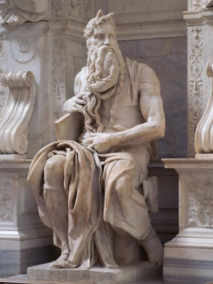 A statue of Moses, one of the Bible's great leaders, by Michelangelo di Buonarroti.