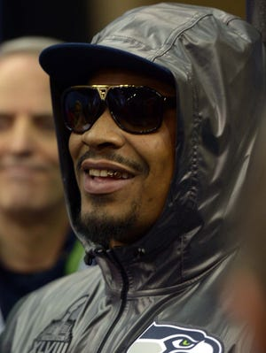 Seattle Seahawks running back Marshawn Lynch (24) during Media Day for Super Bowl XLIII at Prudential Center.