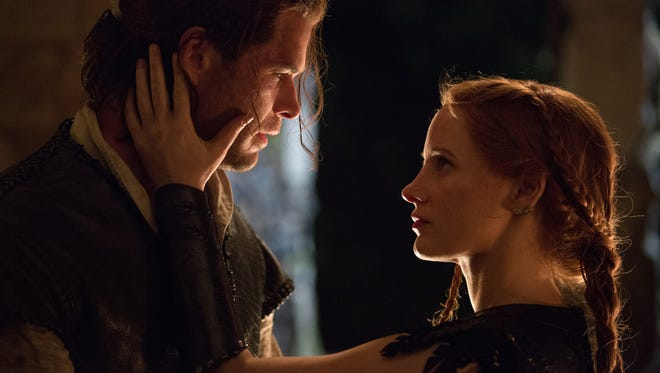 """In """"The Huntsman: Winter's War,"""" Sara (Jessica Chastain) and Eric (Chris Hemsworth) are forbidden to love. Of course they would be."""