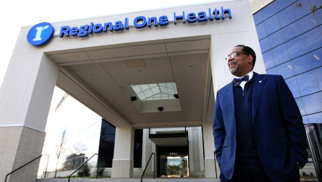 Dr. Reginald Coopwood, CEO of Regional One Health, discussed the Memphis health system's ONE Health program progress and how much it has saved in costs on Wednesday. Here he is pictured at Regional One Health's East Campus on Quince.