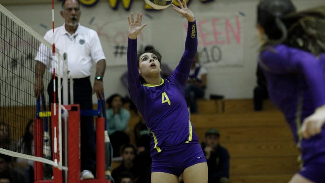 Salinas' Kamryn Sutton sets the ball during an 2016 CIF Central Coast Section: Division 1 Girls Volleyball Tournament against Abraham Lincoln at Salinas High on Wednesday, November 2, 2016 in Salinas, Calif. -- Vernon McKnight/for The Californian