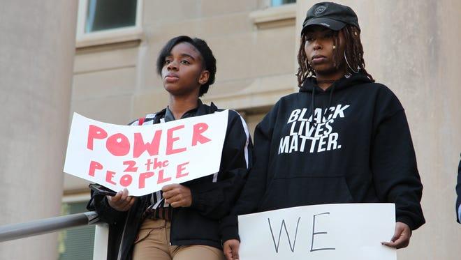 "Purdue University community members held a ""Love Trumps Hate"" rally on campus Wednesday, Nov. 16, 2016."