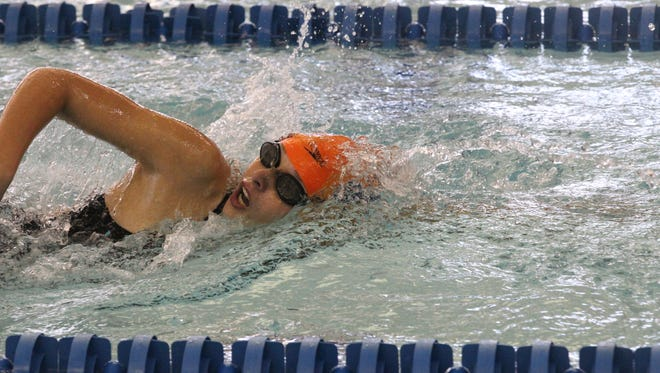 A relay member swims a leg on one of Central High School's 400 freestyle relay teams during the finals of the San Angelo Swimming and Diving Invitational at the Gus Clemens Aquatic Center on Saturday, Oct. 28, 2017.