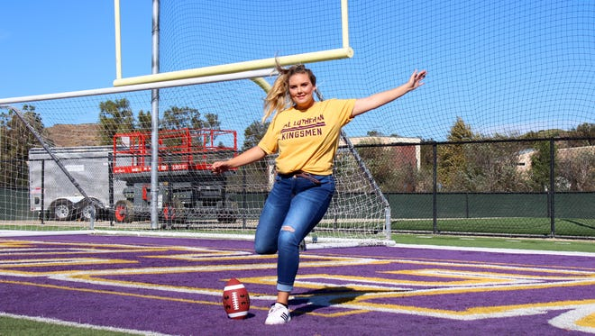 Freshman Morgan Salzwedel, who has converted 11 of 11 PATs over the past three games, is the first female player in the history of the Cal Lutheran University football team.