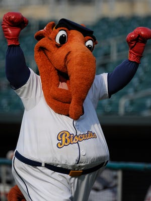 Montgomery Biscuits mascot Big Mo during the Mississippi Braves game at Riverwalk Stadium in Montgomery, Ala. on Sunday July 6, 2014.