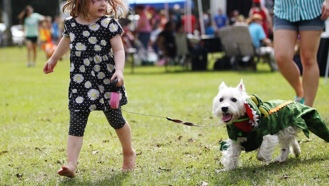 Dozens of pets and owners gather at Tom Brown Park Sunday for the annual Dog-O-Ween celebrations