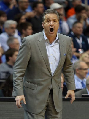 Kentucky Wildcats head coach John Calipari reacts during the second half against the Kansas State Wildcats in the semifinals of the South regional of the 2018 NCAA Tournament at Philips Arena.