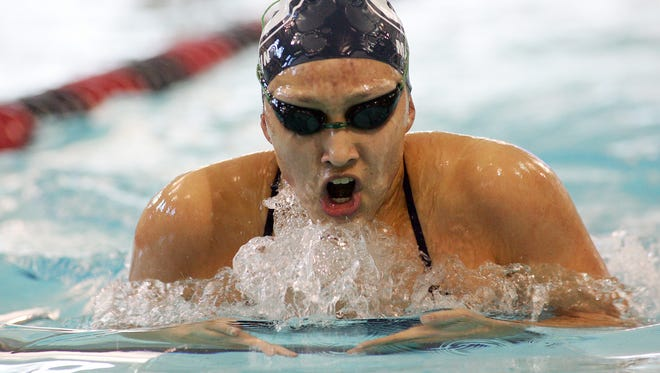 Granville sophomore Sarah Martin competes in the 200-yard individual medley Jan. 4 during a meet against Watkins Memorial at Denison.