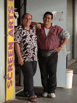Hawaii plaintiffs Joseph Melillo and Pat Lagon outside their Honolulu business following a court ruling in 1996.