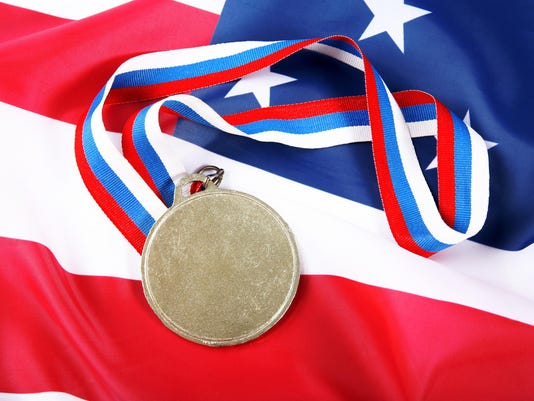 Medal with color Ribbon and USA flag