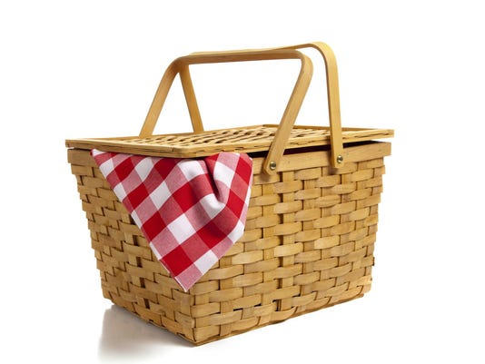 Picnic basket with gingham isolated on a white background
