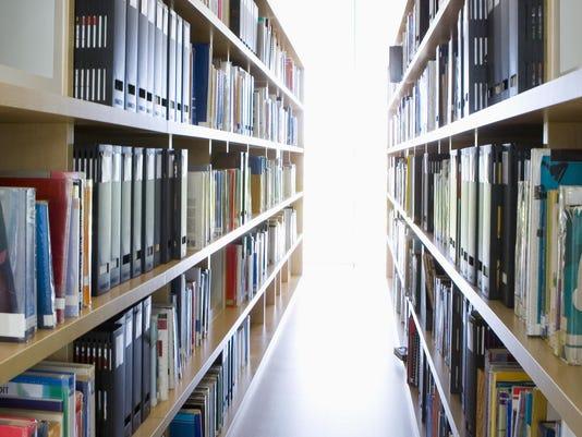 Shelves in library