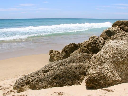 deerfield beach waves and rocks