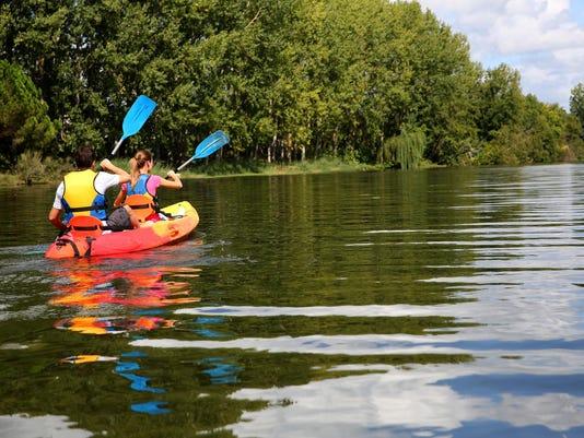 Canoe ride on sunny day