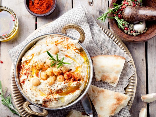 Hummus, chickpea dip, with rosemary, paprika