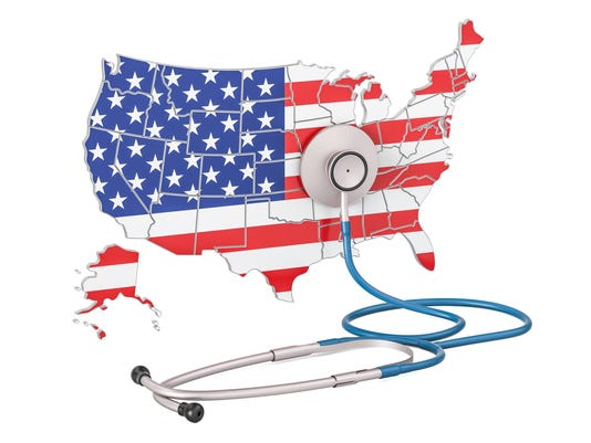USA map with stethoscope, national health care concept, 3D rendering
