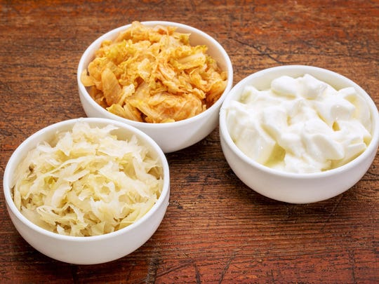 Natural sources of probiotics include fermented foods such as sauerkraut, kefir, kombucha, kimchi, miso and pickles.