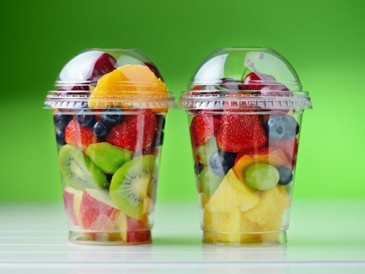 Fresh fruit salad to go with copy space