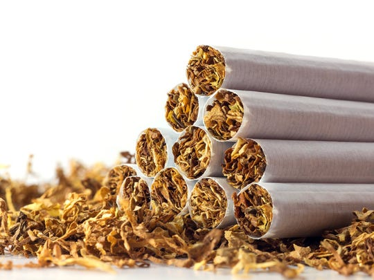 A pyramid of tobacco cigarettes lying atop a small bed of dried tobacco.