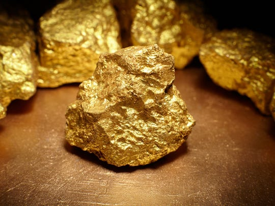 Close-up of gold rocks.