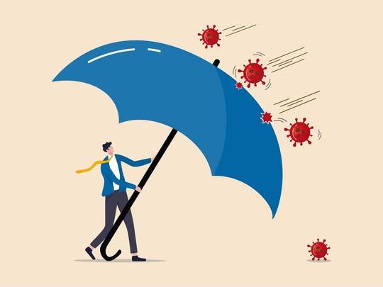 man holding umbrella defending against disease