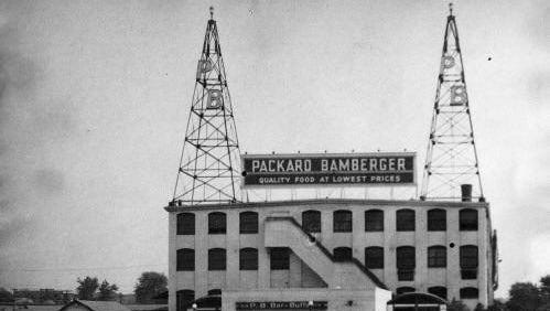 """One of America's first """"super stores"""", New Jersey's Packard & Bamberger circa 1938."""
