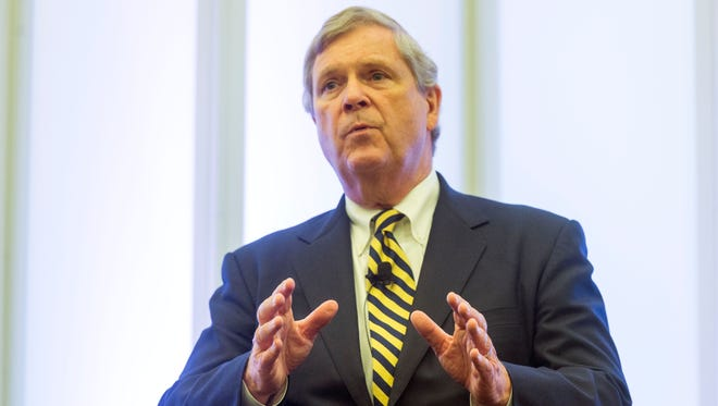 U.S. Agriculture Secretary Tom Vilsack talks about opioid addiction during a town hall meeting with Tennessee Gov. Bill Haslam and Virginia Gov. Terry McAuliffe at the Southwest Virginia Higher Education Center on Thursday, June 30, 2016, in Abingdon, Va.