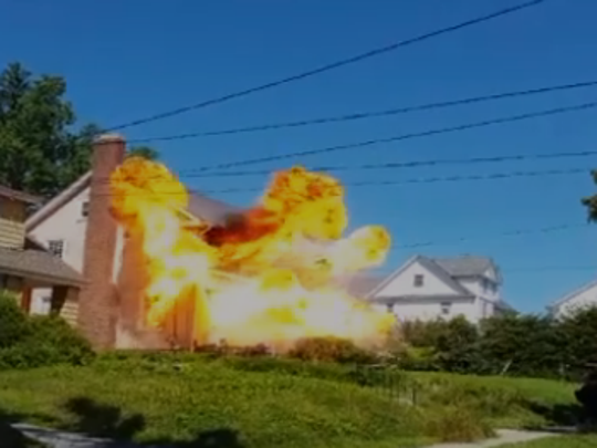 "A TV crew ""blows up"" a house in White Plains for NBC's ""Blindspot."""