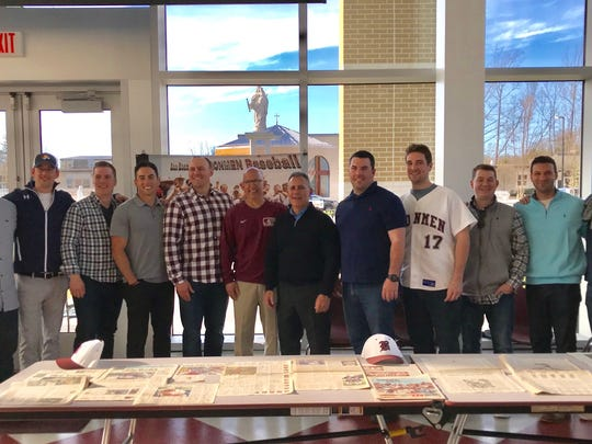 On Saturday, April 21, 2018, Don Bosco celebrated the 10th anniversary of its 2008 team that finished 33-0 and won Bergen County and Non-Public A state championships. Players from the team gathered for a reunion along with coach Greg Butler prior to the current Ironmen's home game against St. Joseph of Metuchen.