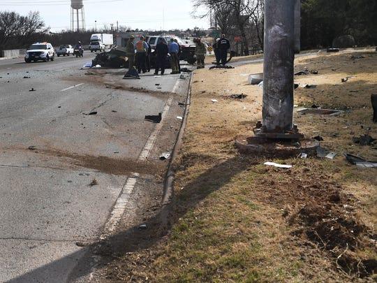 Wichita Falls police work the scene of a fatal accident