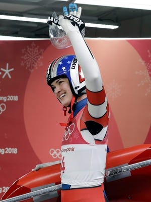 Summer Britcher of the United States smiles after her final run during the women's luge final at the 2018 Winter Olympics in Pyeongchang, South Korea, Tuesday, Feb. 13, 2018.