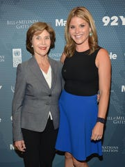 Both of these members of the Bush family have — or soon will — visit the Ozarks. Former first lady Laura Bush with her daughter Jenna Bush Hager, photographed in New York in 2014.