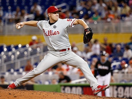 MIAMI, FL - SEPTEMBER 24: Jonathan Papelbon #58 of the Philadelphia Phillies pitches during the ninth inning of the game against the Miami Marlins at Marlins Park on September 24, 2014 in Miami, Florida. (Photo by Rob Foldy/Getty Images)