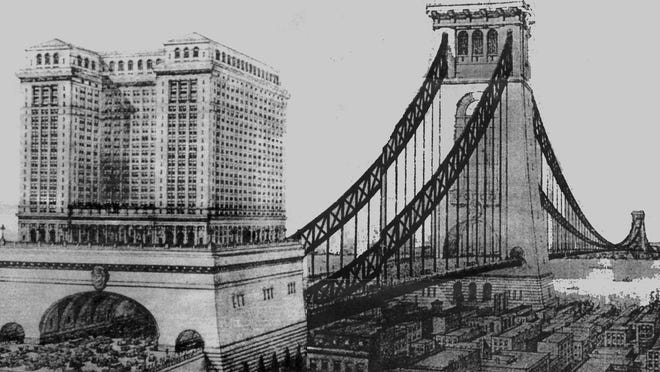 This artist's rendering of the West New York Bridge was taken from Scientific American, dated June 25, 1921.