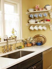 Dishes and ingredients are on display for easy access.