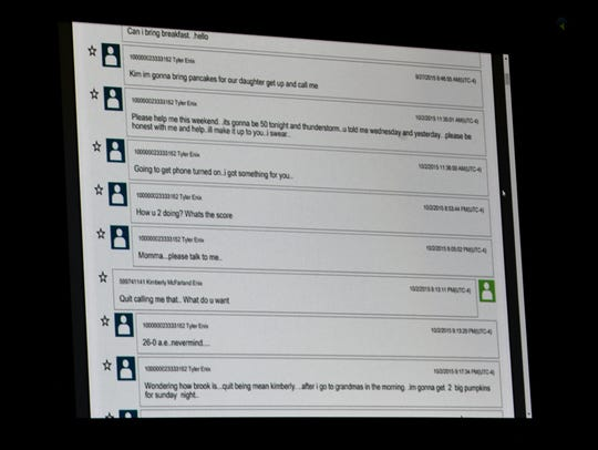 One of many pages of phone texts presented as evidence