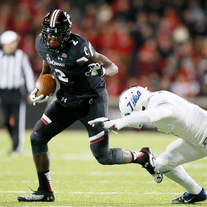 *Cincinnati Bearcats wide receiver Mekale McKay (2) turns upfield after making a catch in the third quarter during the NCAA college football game between the Tulsa Golden Hurricane and the Cincinnati Bearcats, Saturday, Nov. 14, 2015, at Nippert Stadium in Cincinnati.