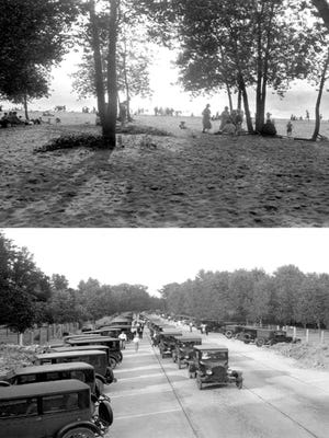 Waterworks Beach on the opening day of the new road in 1924.