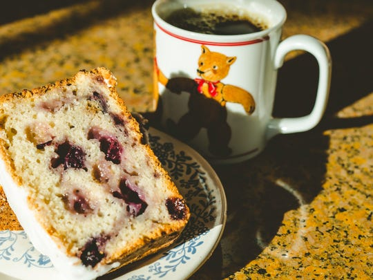 Iced lemon blueberry bread ($2.50 a slice) is one of