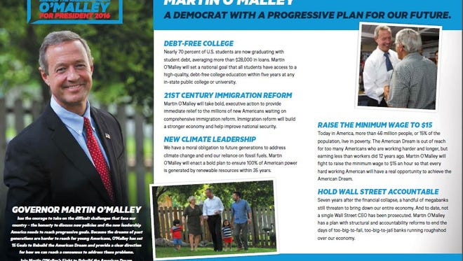 This is one of two mailers Martin O'Malley's campaign plans to send to 200,000 Iowa households through August.