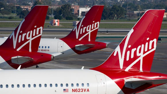 Virgin America aircraft are seen in Los Angeles on