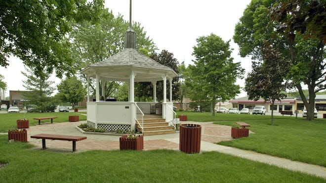 The gazebo in the Polk City Square is shown in this Des Moines Register file photo. The park in the square will soon be refurbished thanks to a $30,000 donation.