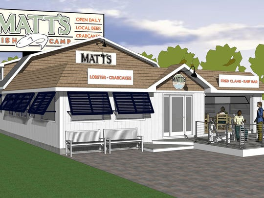 An artist's rendering of the new Matt's Fish Camp on Del. 1 in Lewes. The restaurant is expected to open this summer.