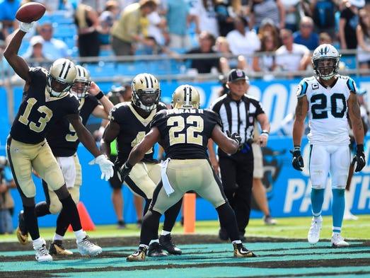 New Orleans Saints running back Alvin Kamara celebrates