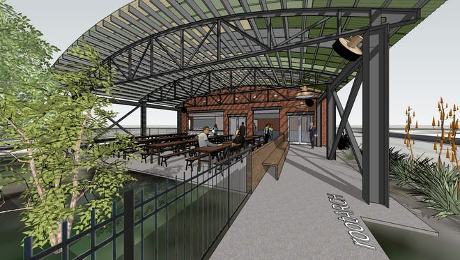 A rendering showing the patio at Von Elrod's  Beer Garden & Sausage House, which is planned at at 1004 Fourth Ave. N.