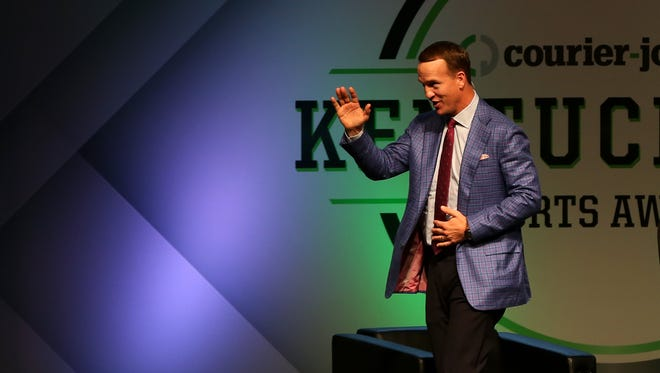 """Peyton Manning said during the Q&A session Tuesday: """"I don't need these rings to remind me of the great relationships I've had."""" Peyton Manning finishes up the Q & A part of the Kentuckiana Sports Awards show, June 14, 2016"""