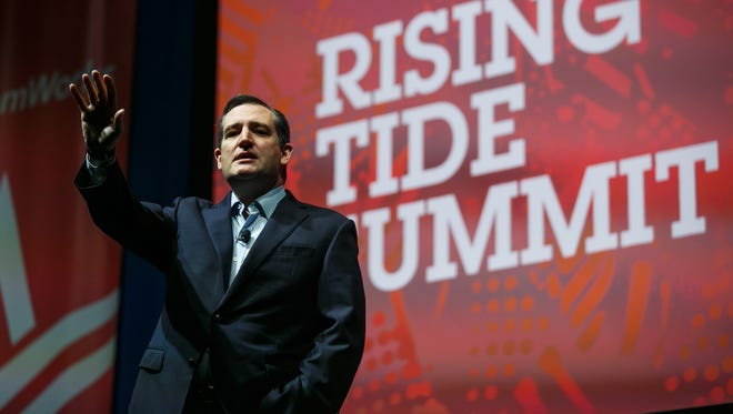 Republican presidential candidate Ted Cruz speaks during the Rising Tide Summit at the U.S. Cellular Center on Saturday, Dec. 5, 2015, in Cedar Rapids.