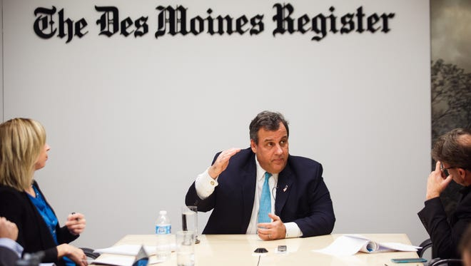 Republican presidential candidate Chris Christie talks with the Des Moines Register editorial board on Friday, Jan. 15, 2016, in Des Moines.