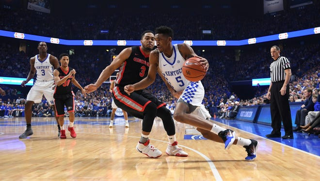 UK's Malik Monk drives with the ball during the University of Kentucky basketball game against University of Georgia at Rupp Arena in Lexington, KY on Tuesday, January 31, 2017.